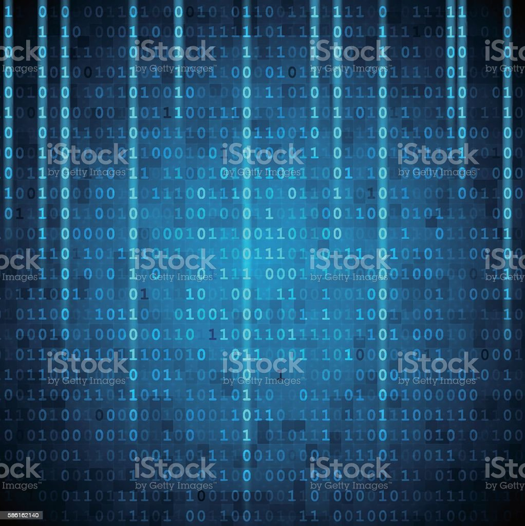Vector matrix style binary background with falling number vector art illustration