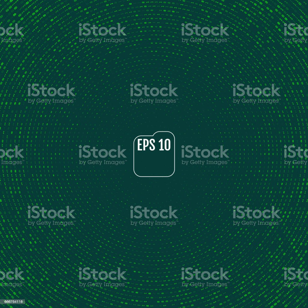 Vector matrix style binary background with numbers vector art illustration