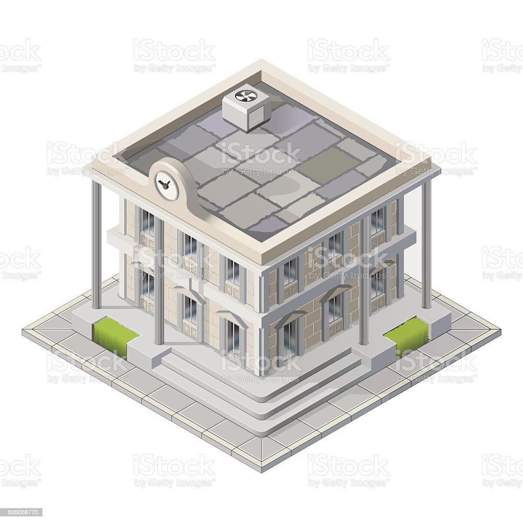 Vector mayoralty isometric building vector art illustration