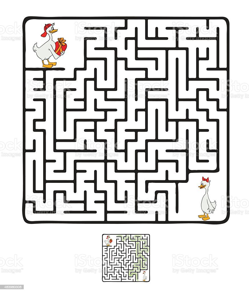 Vector Maze, Labyrinth with Ducks vector art illustration