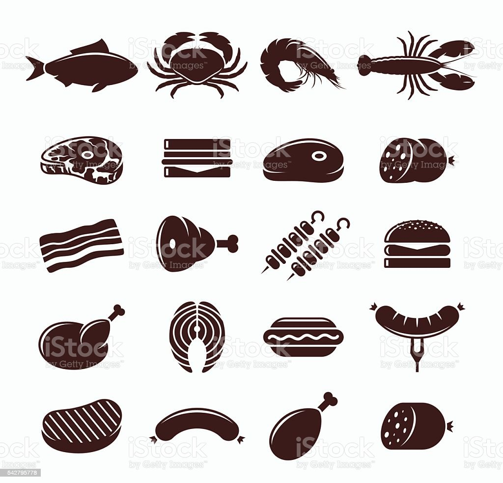 Vector Meat Icons Set vector art illustration