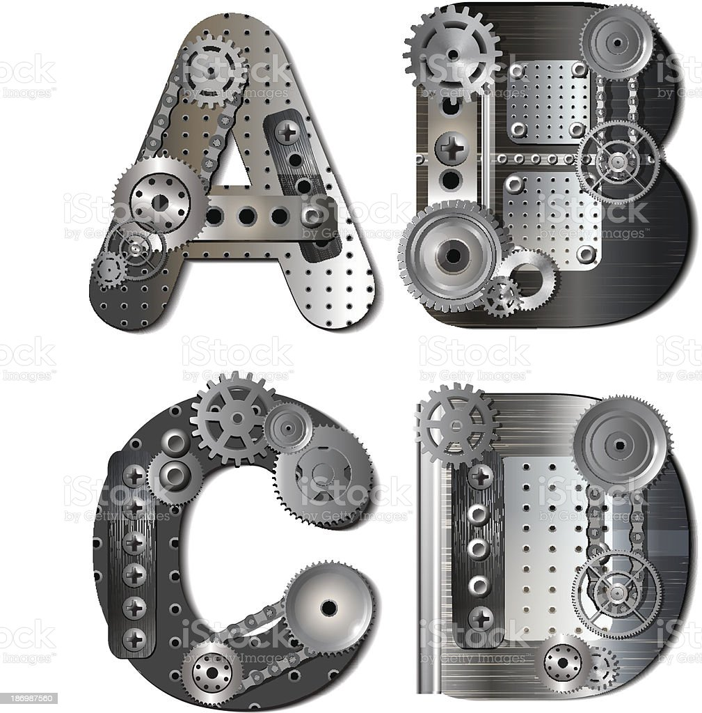 Vector mechanical alphabet of gears vector art illustration