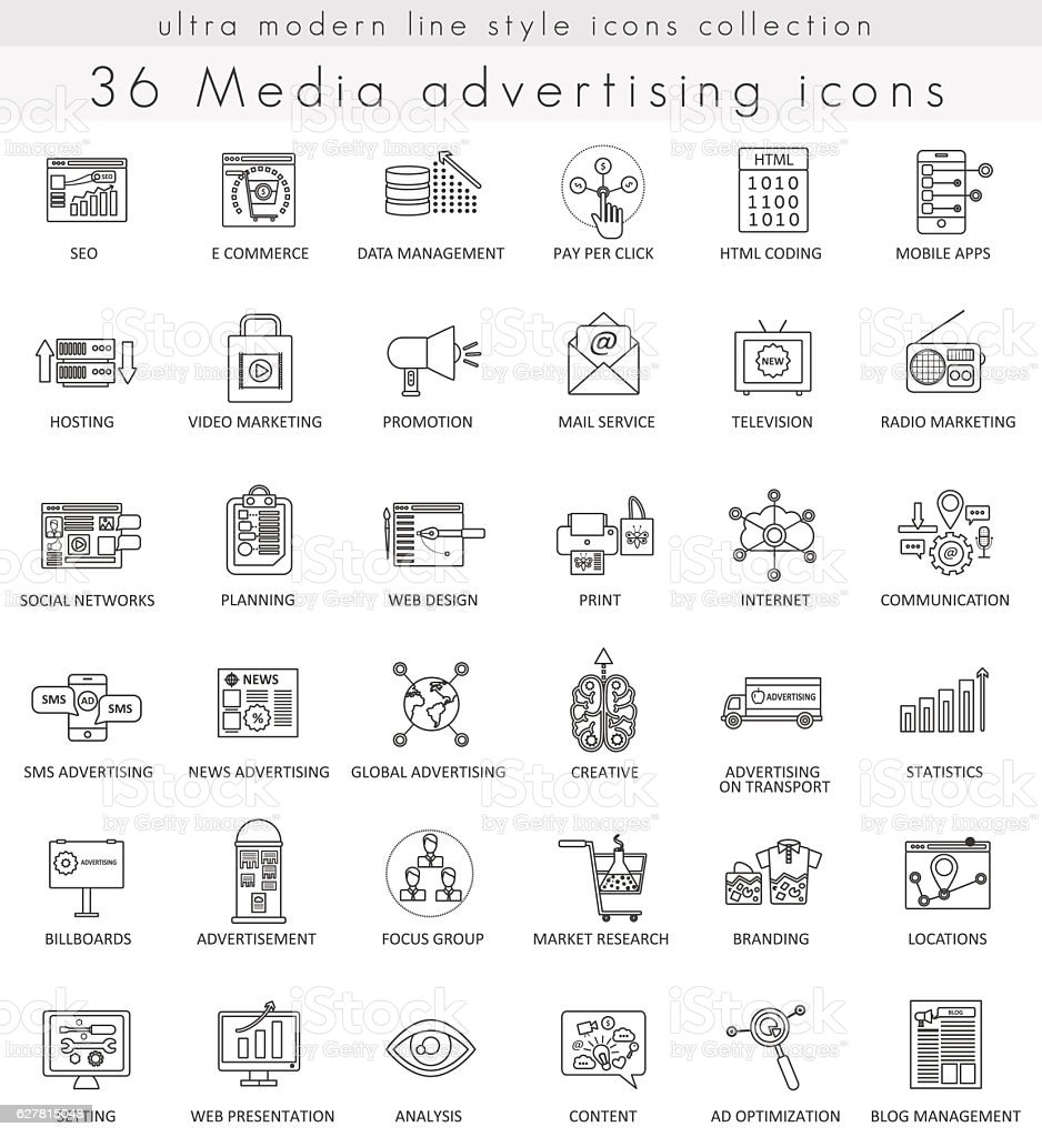 Vector Media advertising ultra modern outline line icons for web royalty-free stock vector art