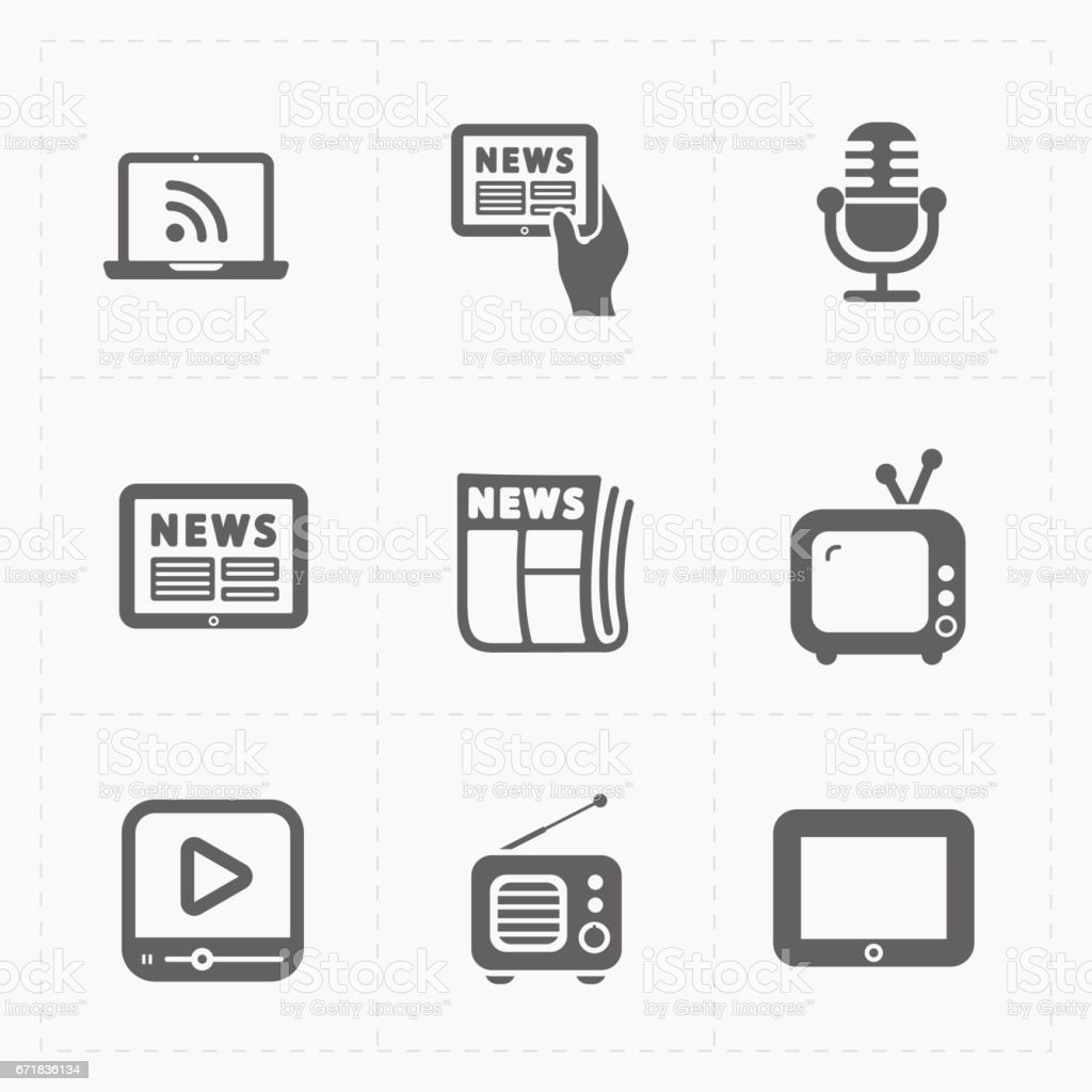 Vector Media Icons set on white background vector art illustration