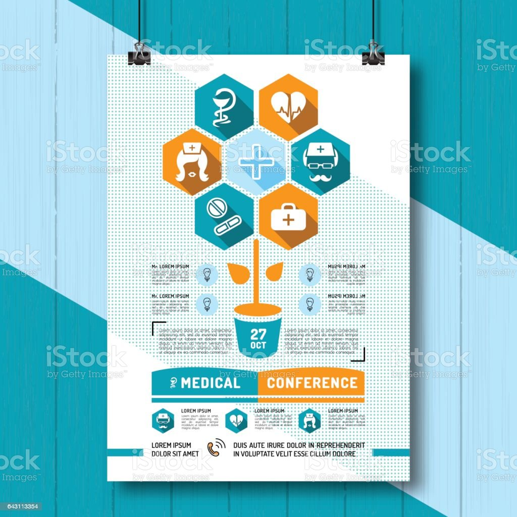 Poster design medical - Vector Medical Conference Poster Flat Infographics Icons Medicine And Health Royalty Free Stock Vector