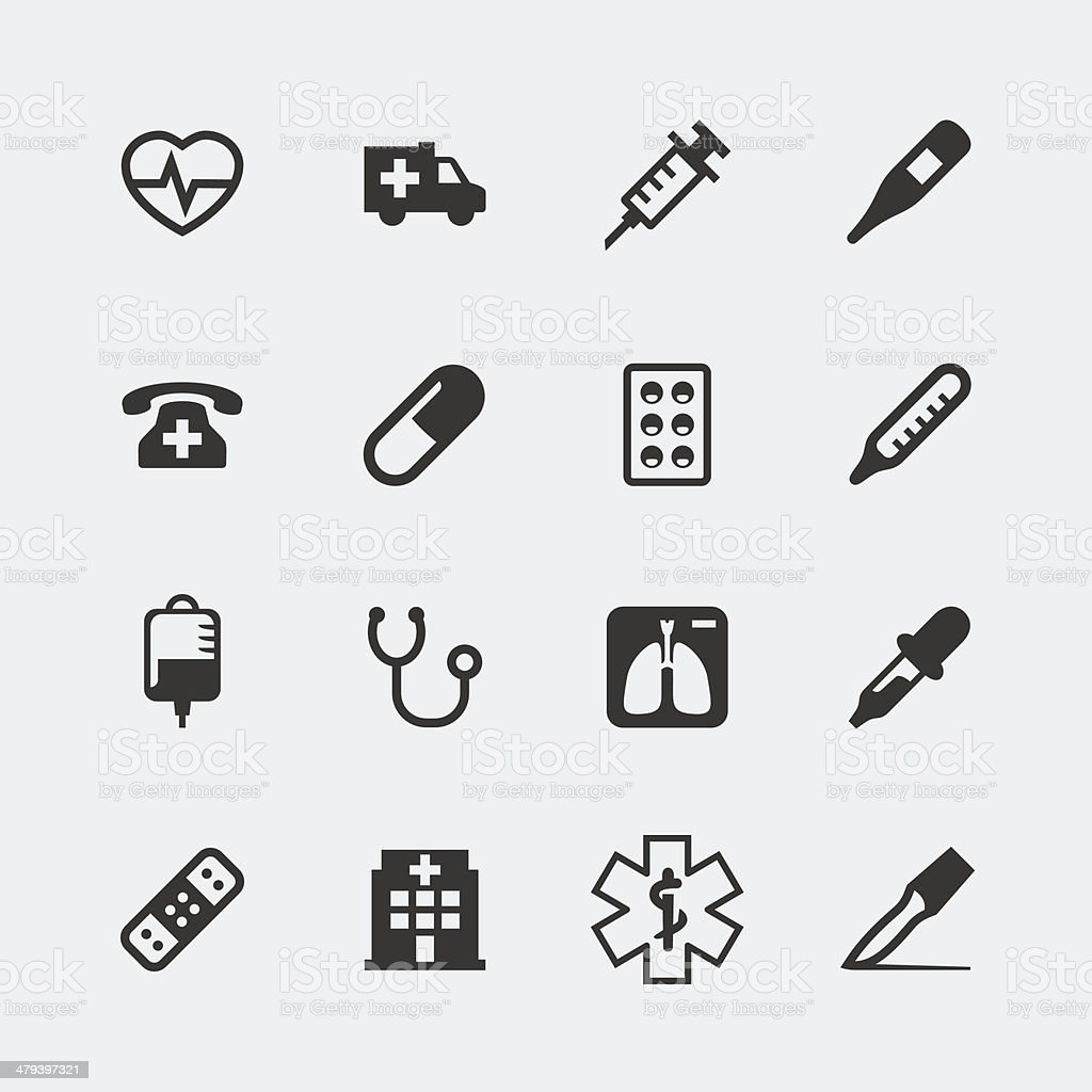 Vector medical mini icons set vector art illustration