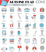 Vector Medical ultra modern outline artline flat line icons for