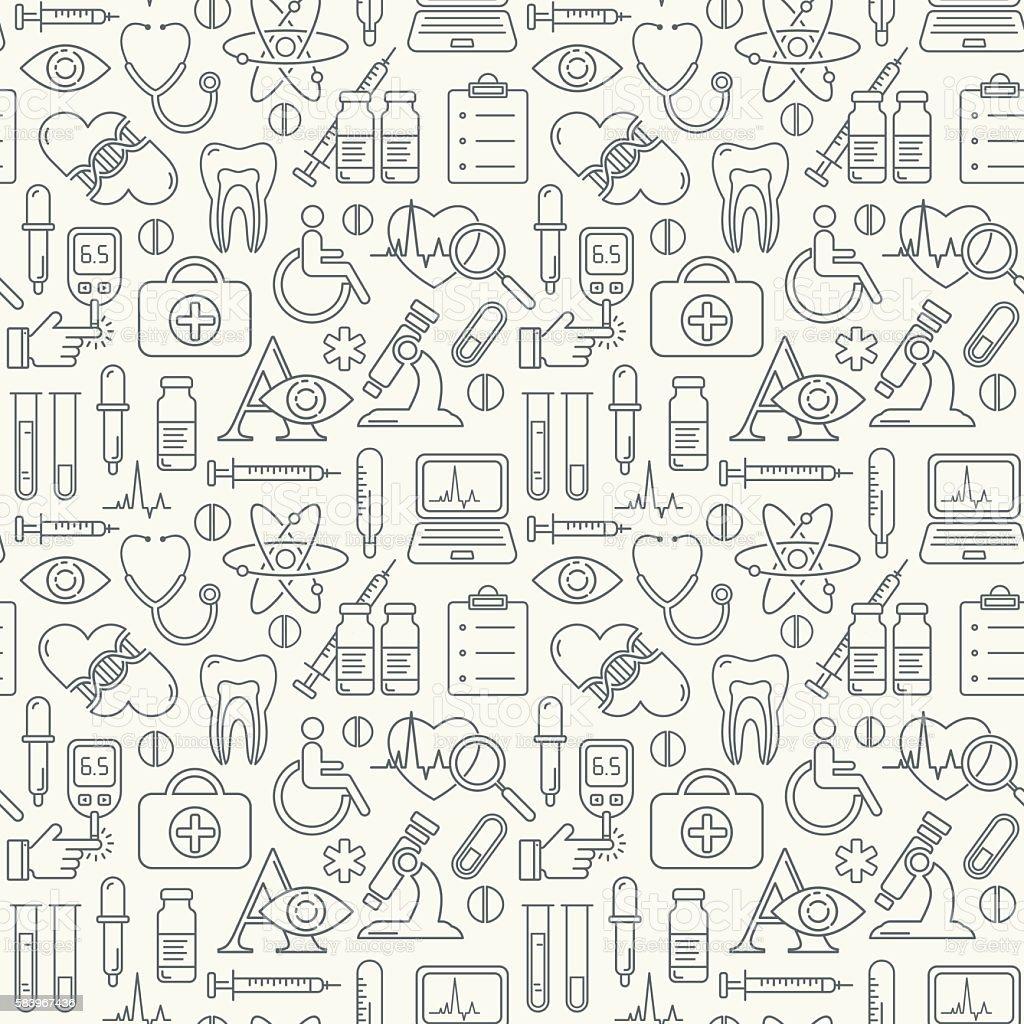 Vector medicine and health design seamless background vector art illustration