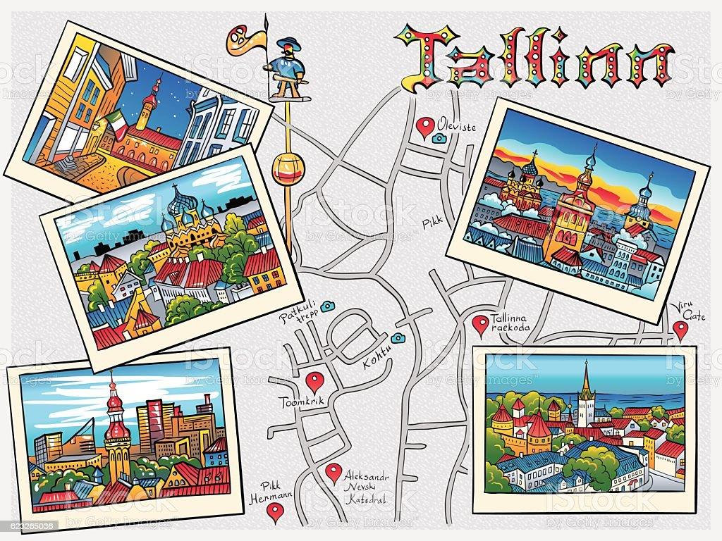 Vector Medieval Old Town, Tallinn, Estonia vector art illustration
