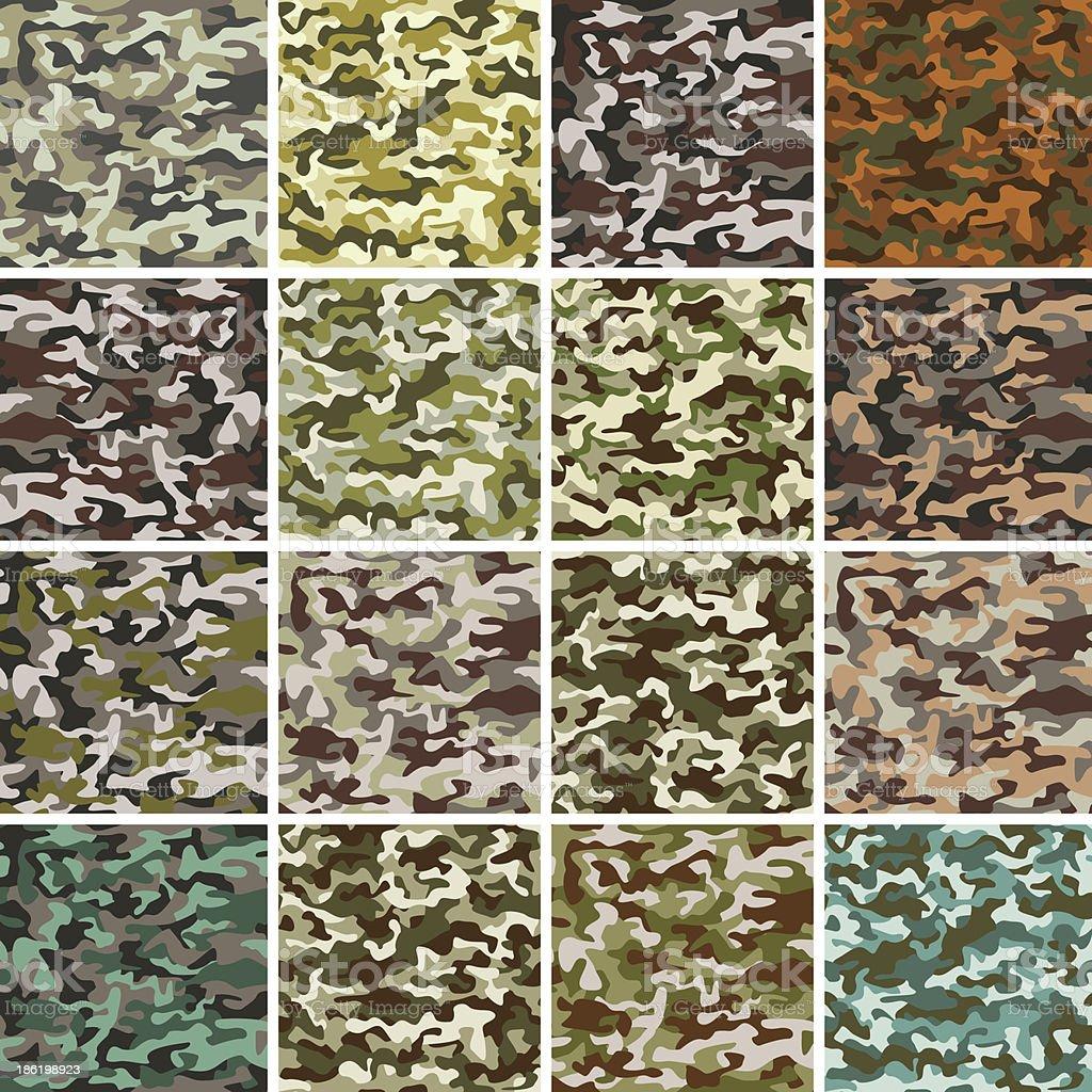Vector Mega Set of 16 Seamless Background Camouflage Pattern vector art illustration