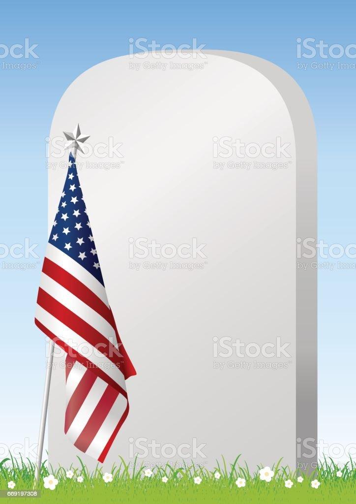 Vector Memorial day American flag and gravestone on green grass vector art illustration