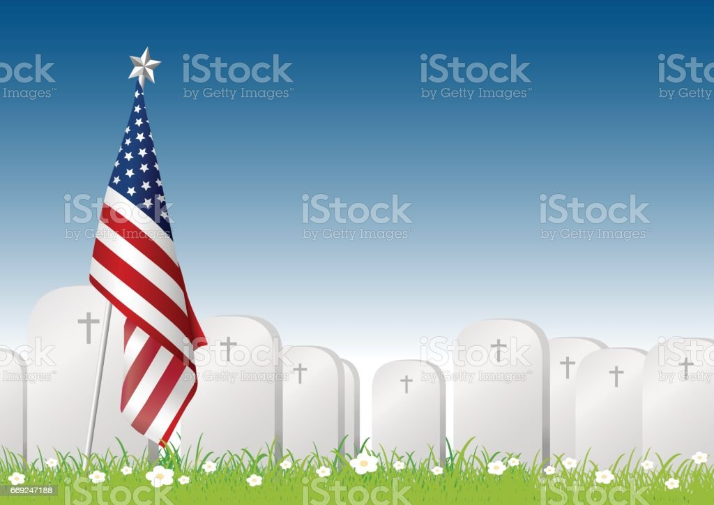 Vector Memorial day concept of American flag and gravestone on green grass with copy space vector art illustration