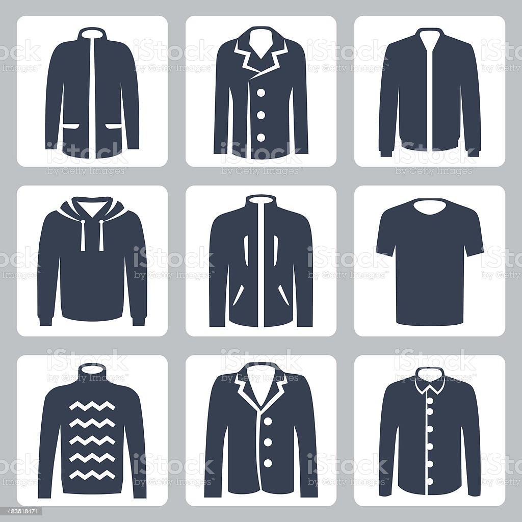 Vector men's clothes icons set vector art illustration