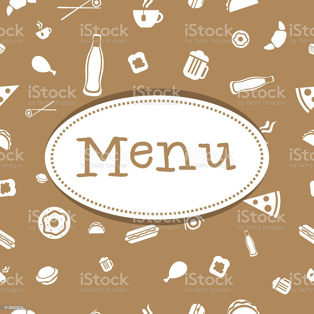 Vector menu cover with food seamless pattern vector art illustration