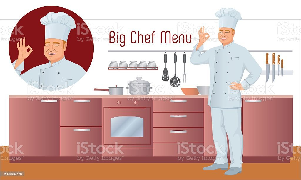 Vector Menu Set. Chef shows gesture delicious, background of kitchen. vector art illustration