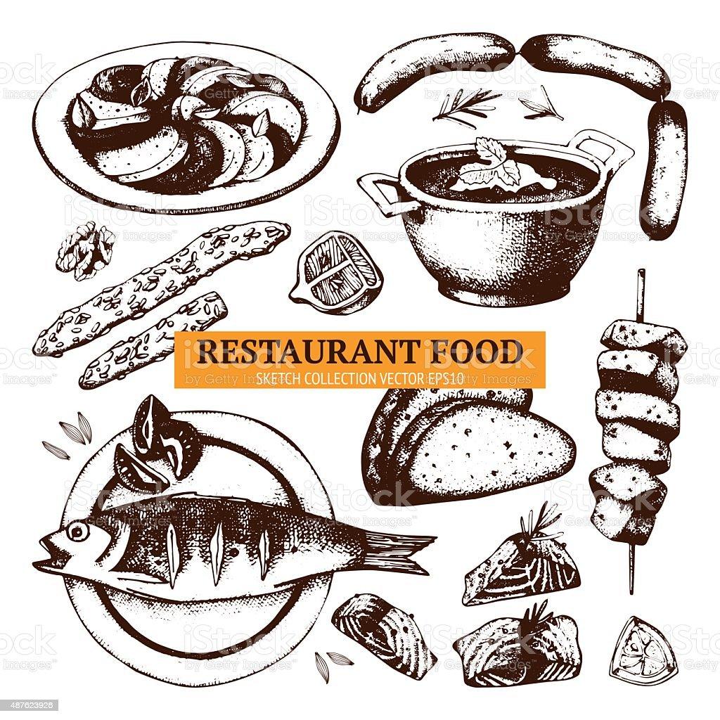 Vector menu template. Vintage food collection vector art illustration
