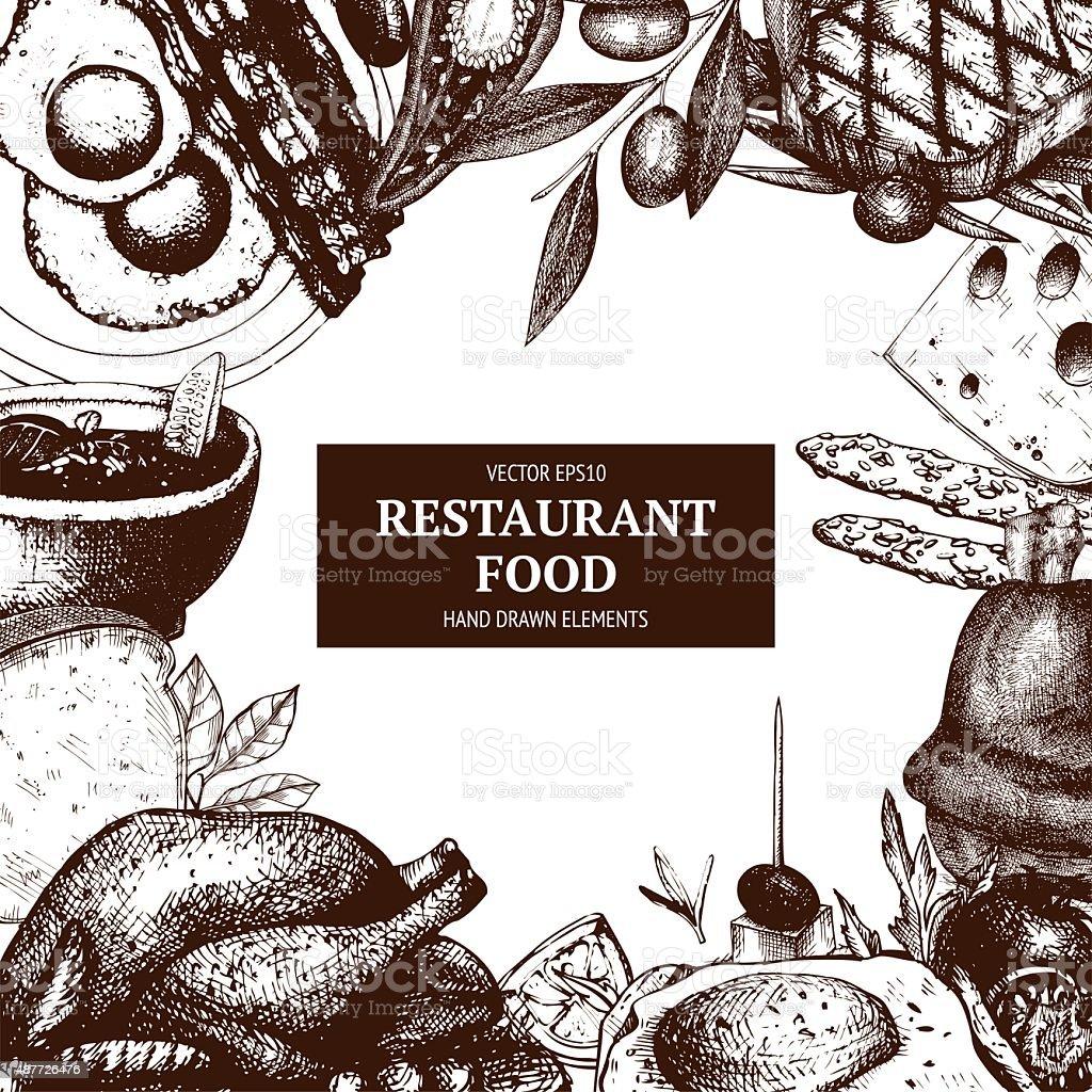 Vector menu template. Vintage food sketched card design vector art illustration