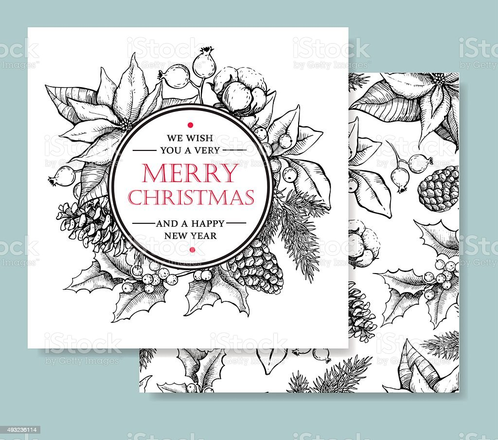 Vector Merry Christmas and Happy New Year hand drawn card vector art illustration