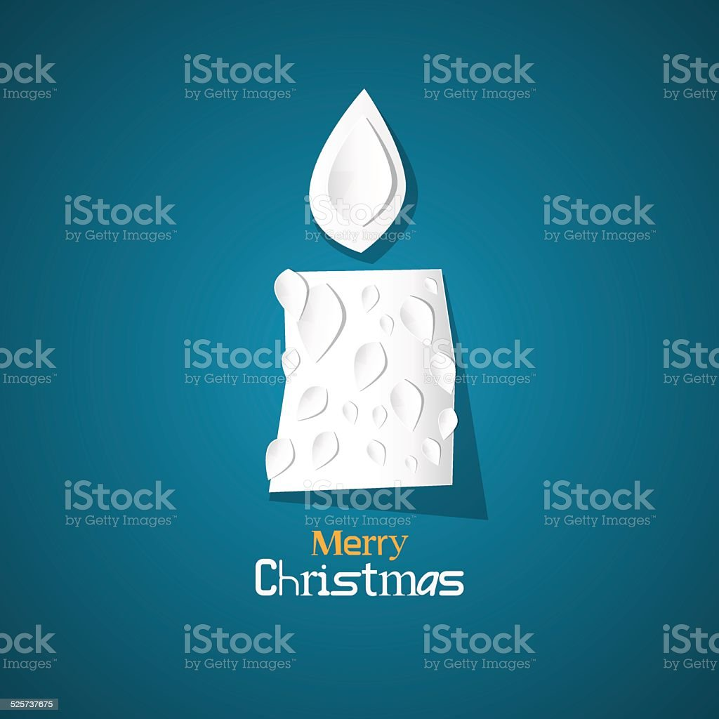 Vector Merry Christmas Blue Card with Paper Candle vector art illustration