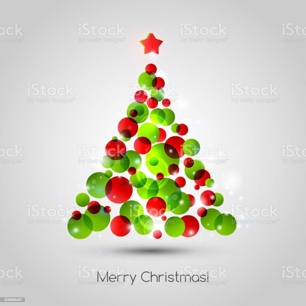 Vector Merry christmas tree greeting card vector art illustration