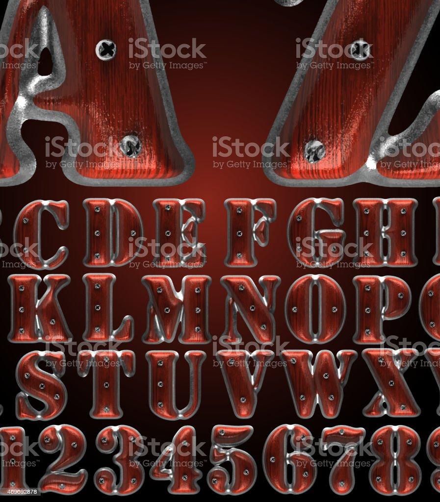 vector metal alphabet set with wood vector art illustration