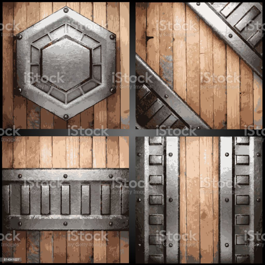 Vector metal and wood background set vector art illustration