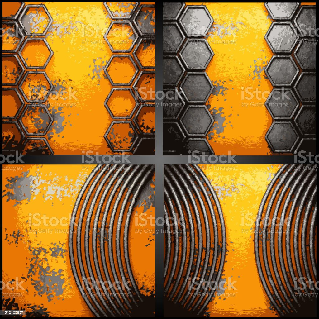 Vector metal background set vector art illustration