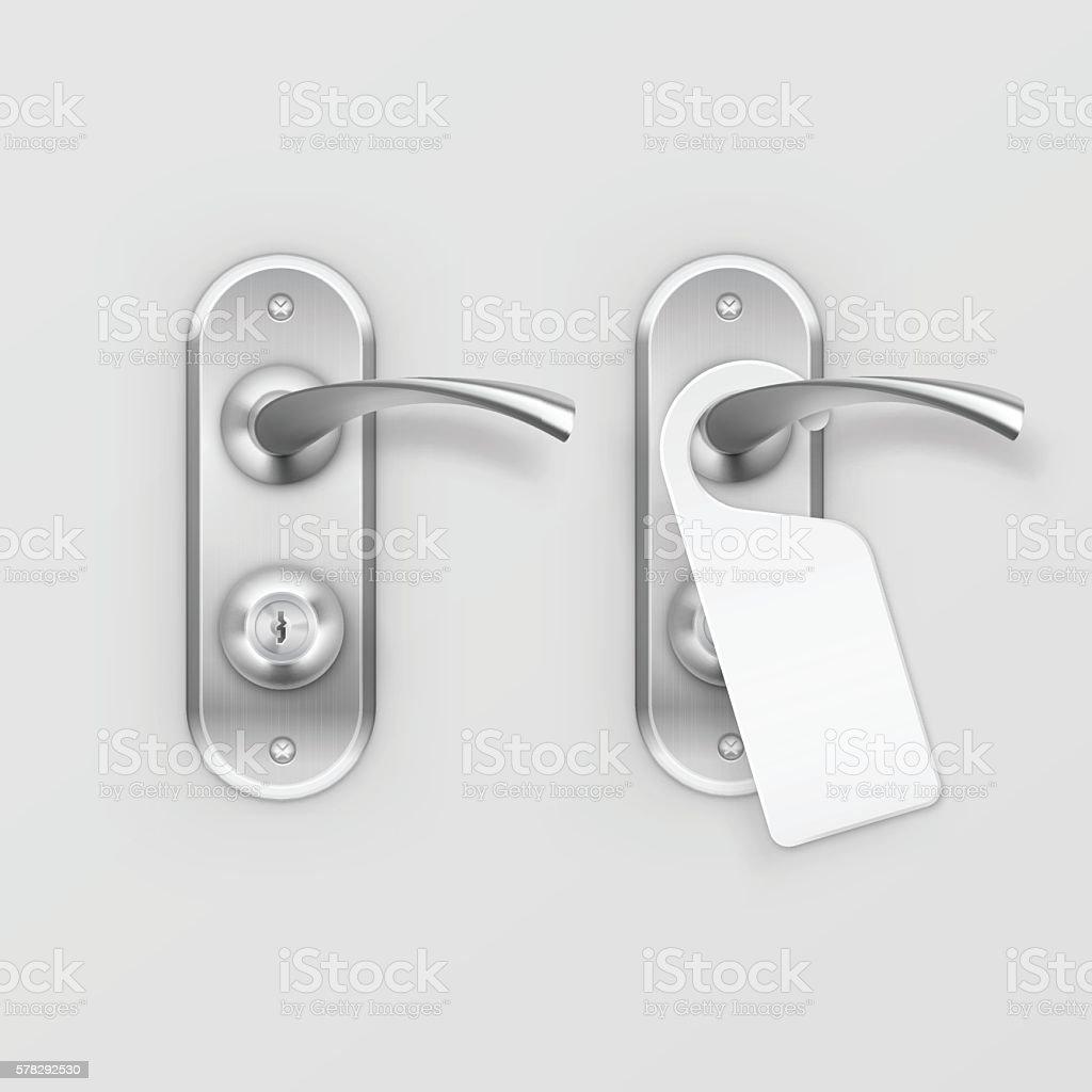 Vector Metal Door Handle Lock with Hanger Isolated on Background vector art illustration
