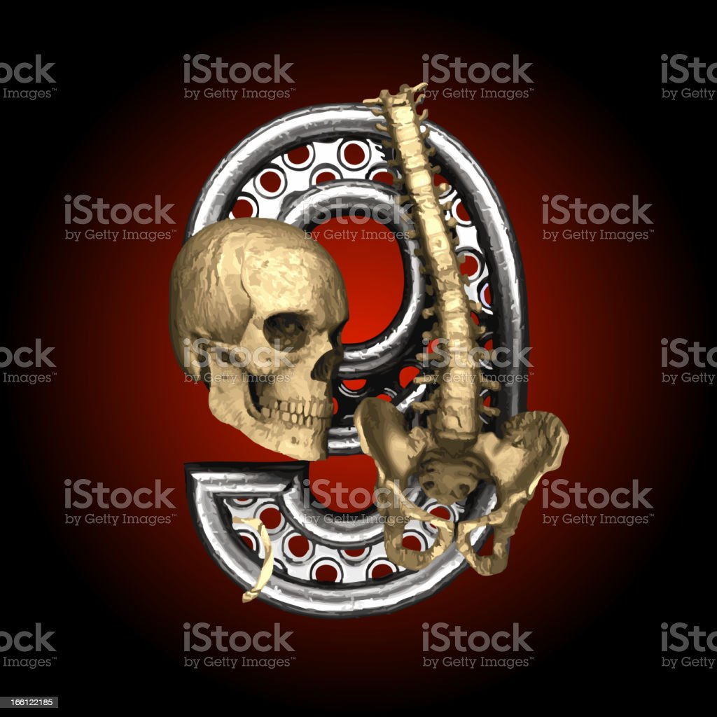 Vector Metal figure 9 with skeleton royalty-free stock vector art