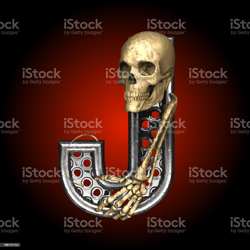 Vector Metal figure J with skeleton royalty-free stock vector art
