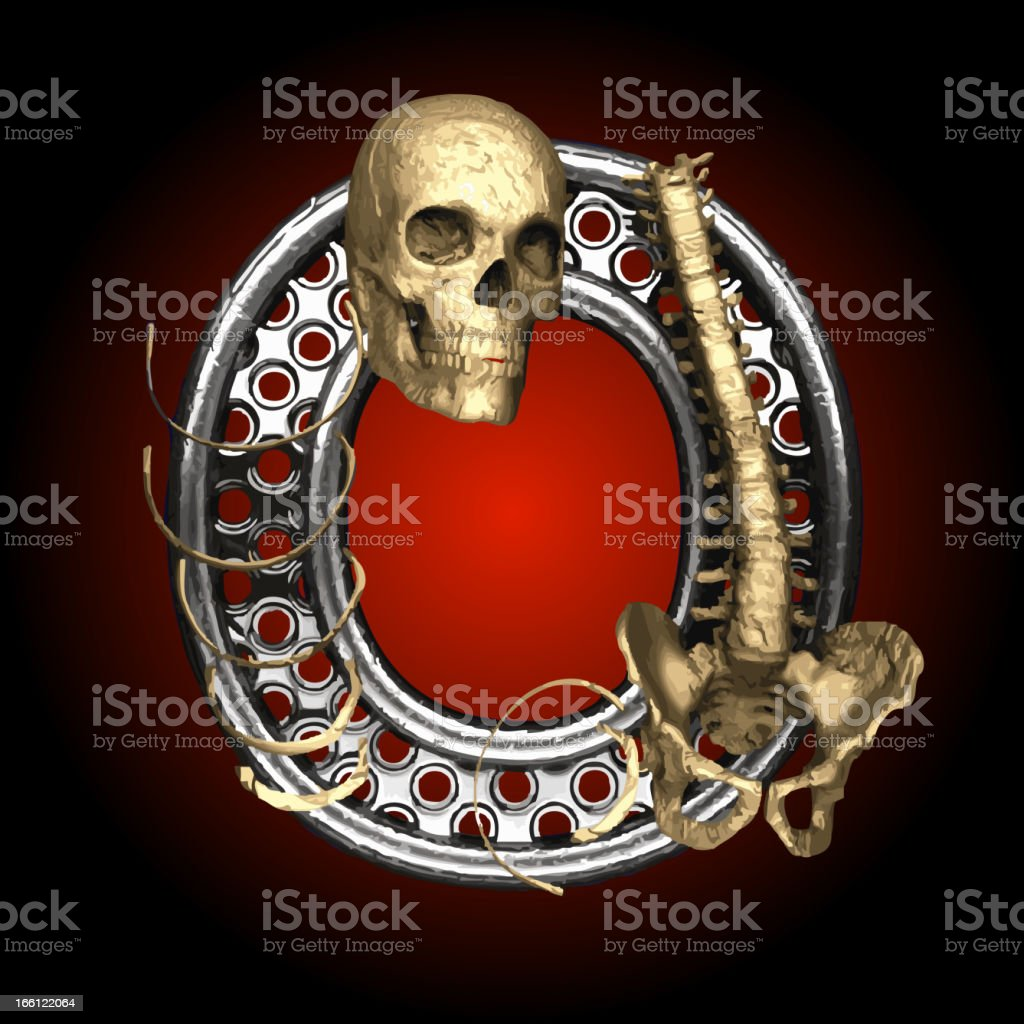 Vector Metal figure O with skeleton royalty-free stock vector art