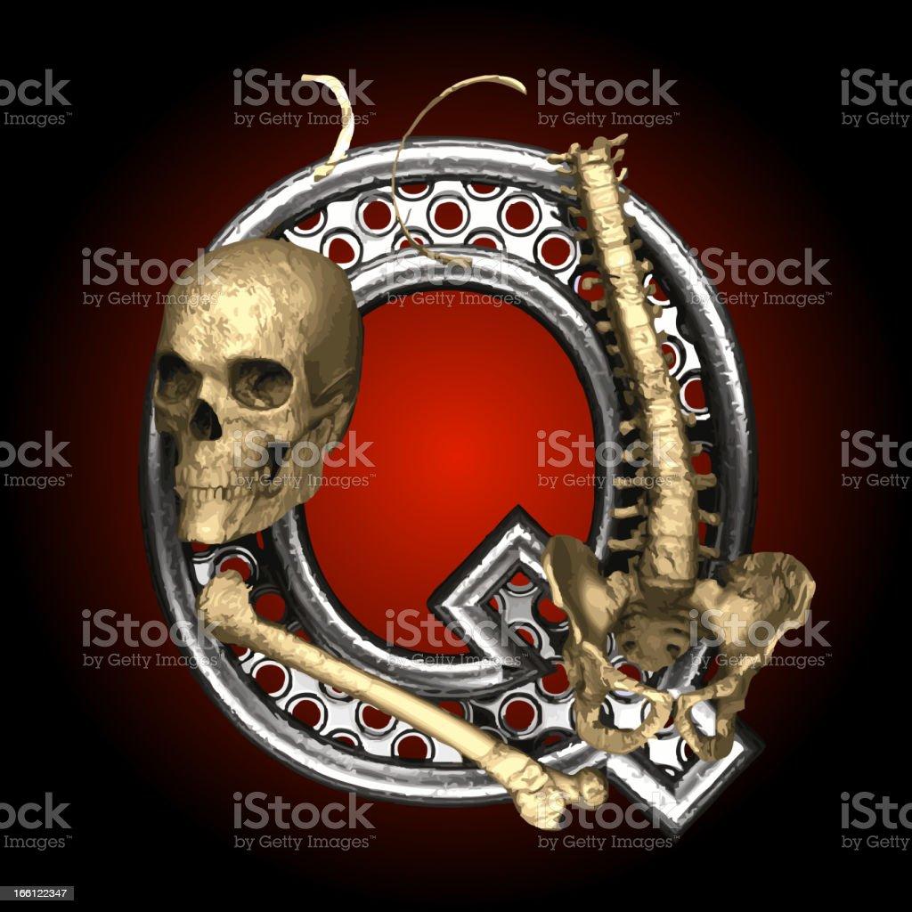 Vector Metal figure Q with skeleton royalty-free stock vector art