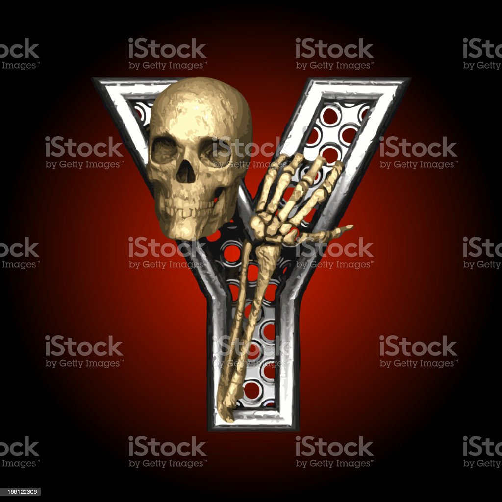 Vector Metal figure Y with skeleton royalty-free stock vector art