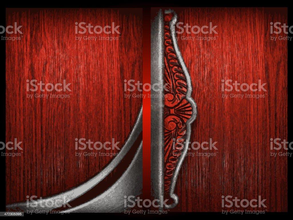 Vector metal on wood background set royalty-free stock vector art