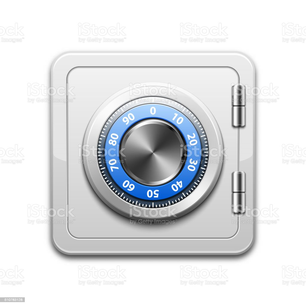 Vector metal safe icon vector art illustration