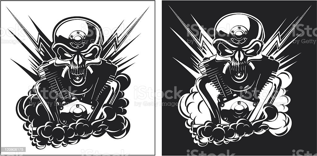 Vector metall skull with engine b&w royalty-free stock vector art