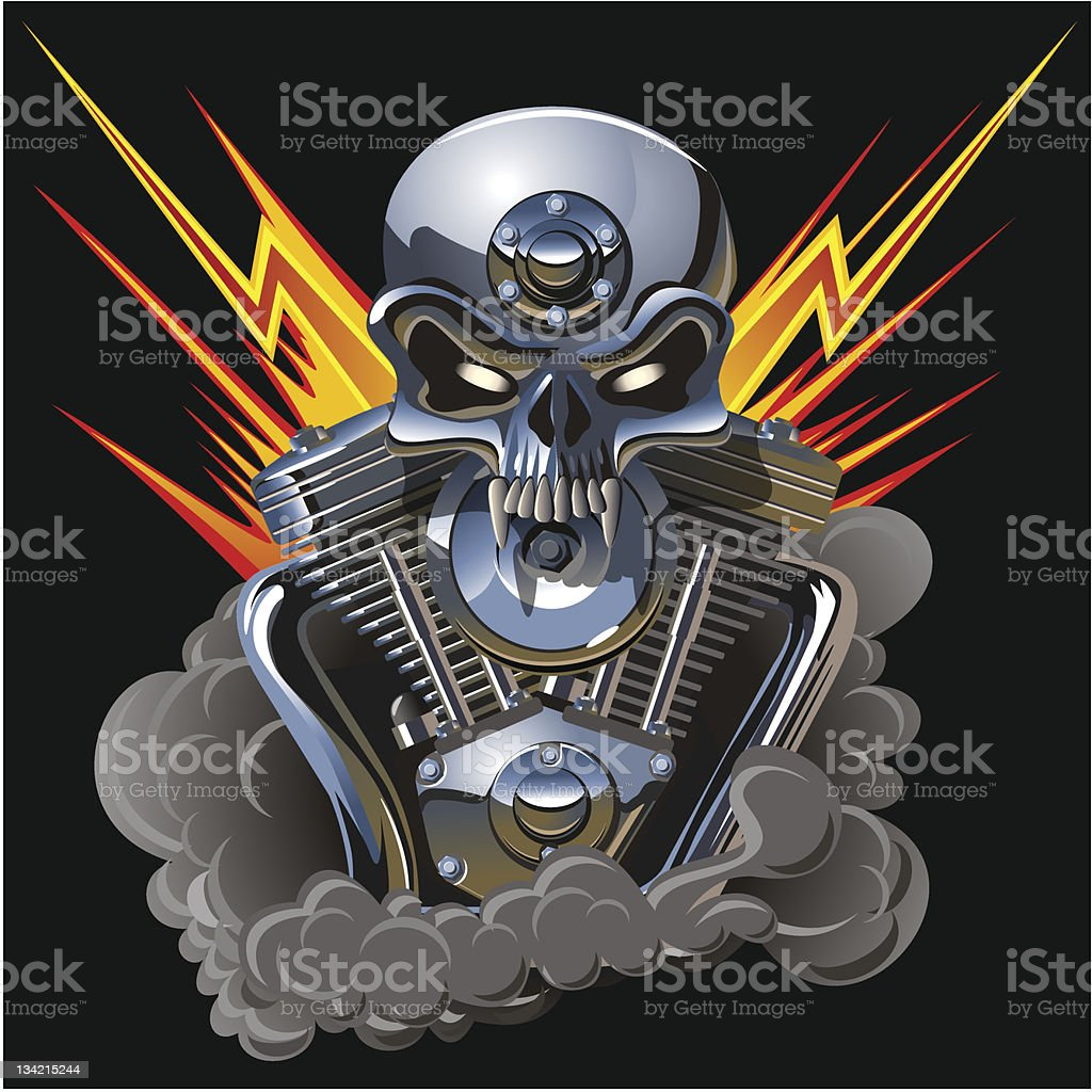 Vector metall skull with engine royalty-free stock vector art