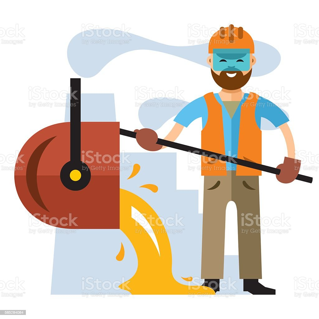 Vector Metallurgical industry. Flat style colorful Cartoon illustration vector art illustration