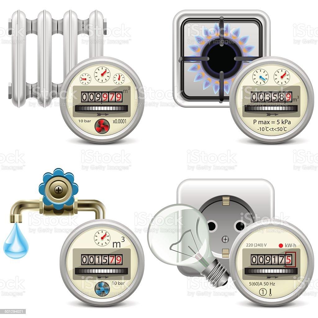 Vector Meter Icons vector art illustration