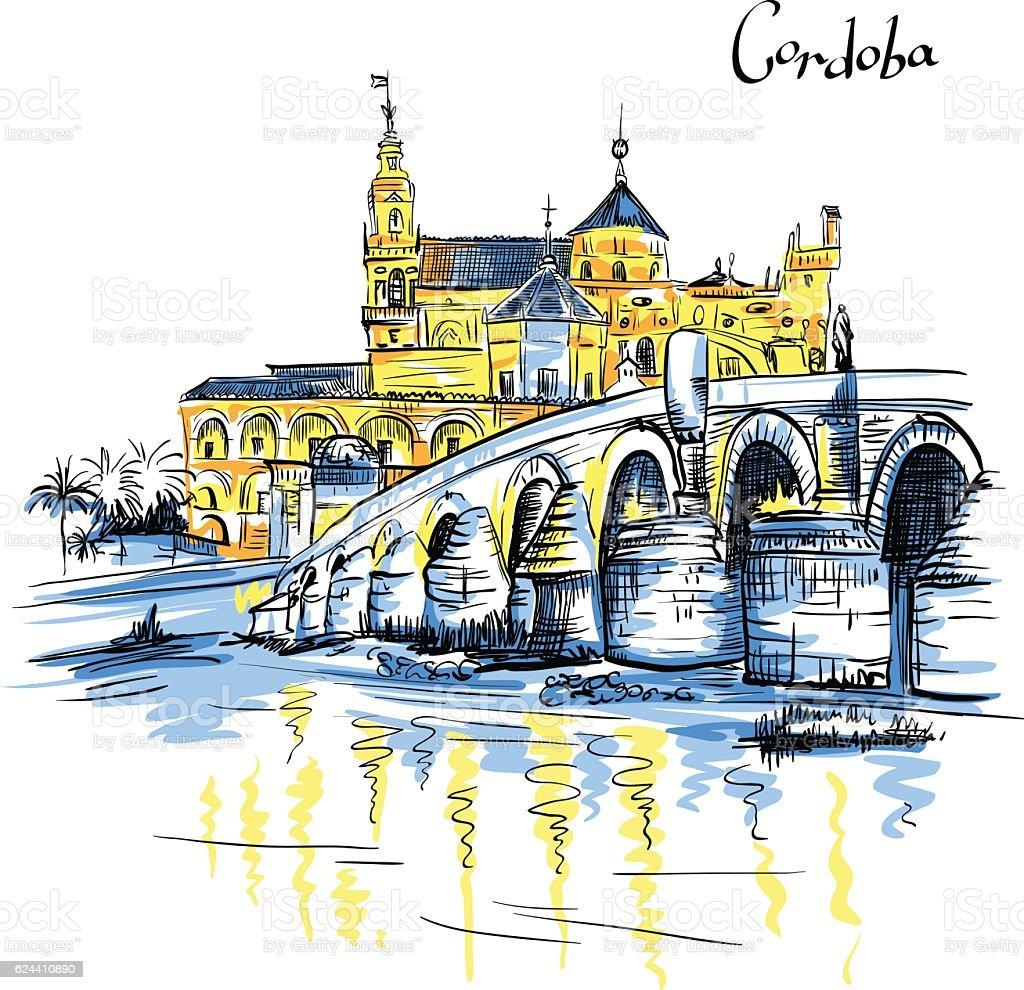 Vector Mezquita and Roman bridge in Cordoba, Spain vector art illustration
