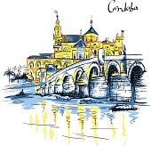 Vector Mezquita and Roman bridge in Cordoba, Spain
