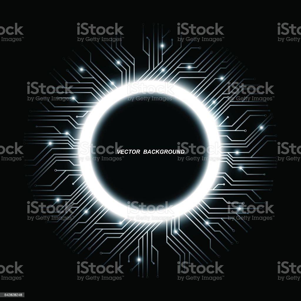 Vector microchip designs, CPU. Information communication technology elements blue luminescent vector art illustration