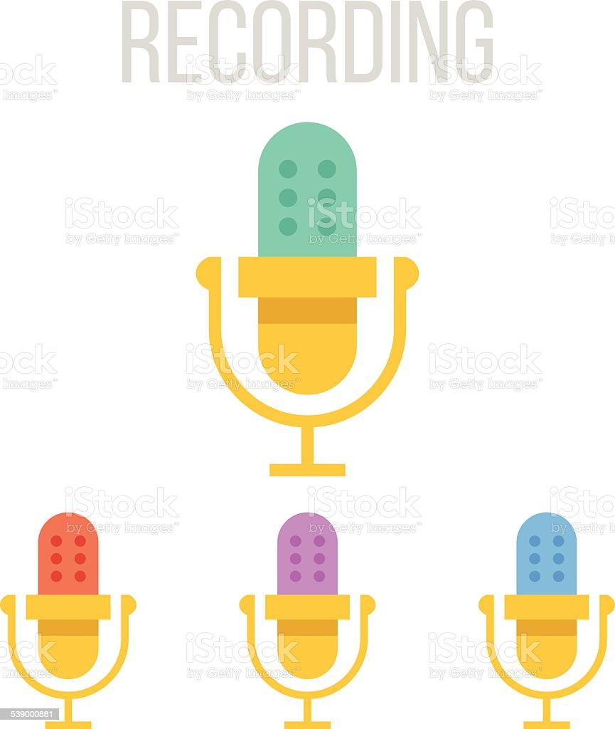 Vector microphone icons vector art illustration