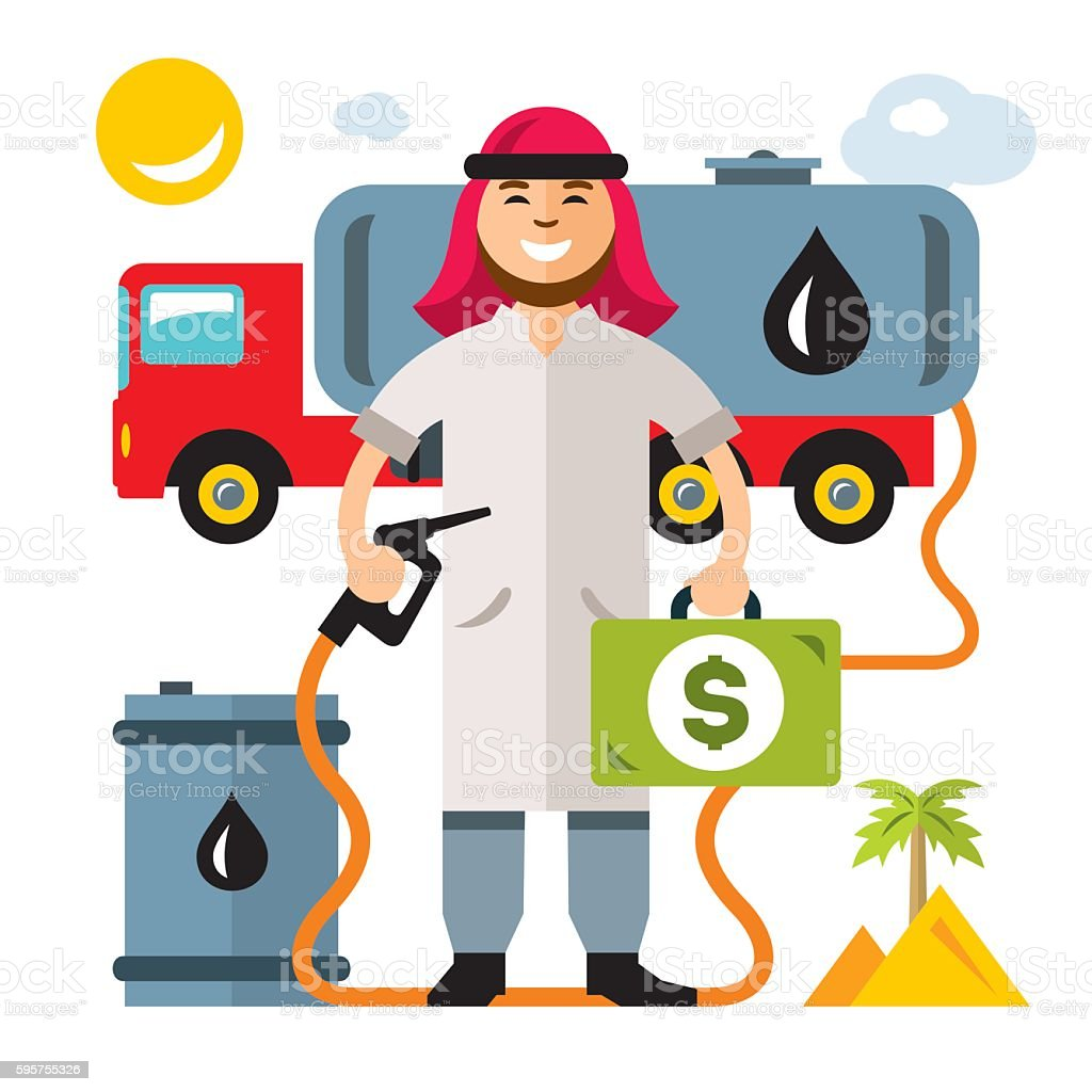 Vector Middle East Oil Industry. Flat style colorful Cartoon illustration. vector art illustration