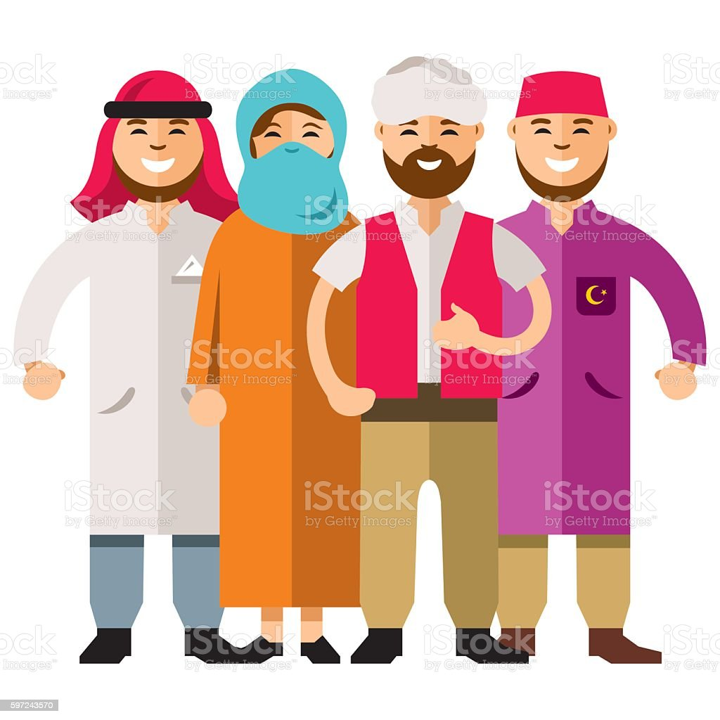 Vector Middle Eastern Group of People. Flat style colorful Cartoon vector art illustration