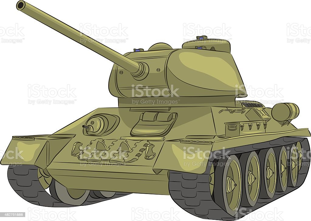Vector. Middle tank T-34-85. vector art illustration