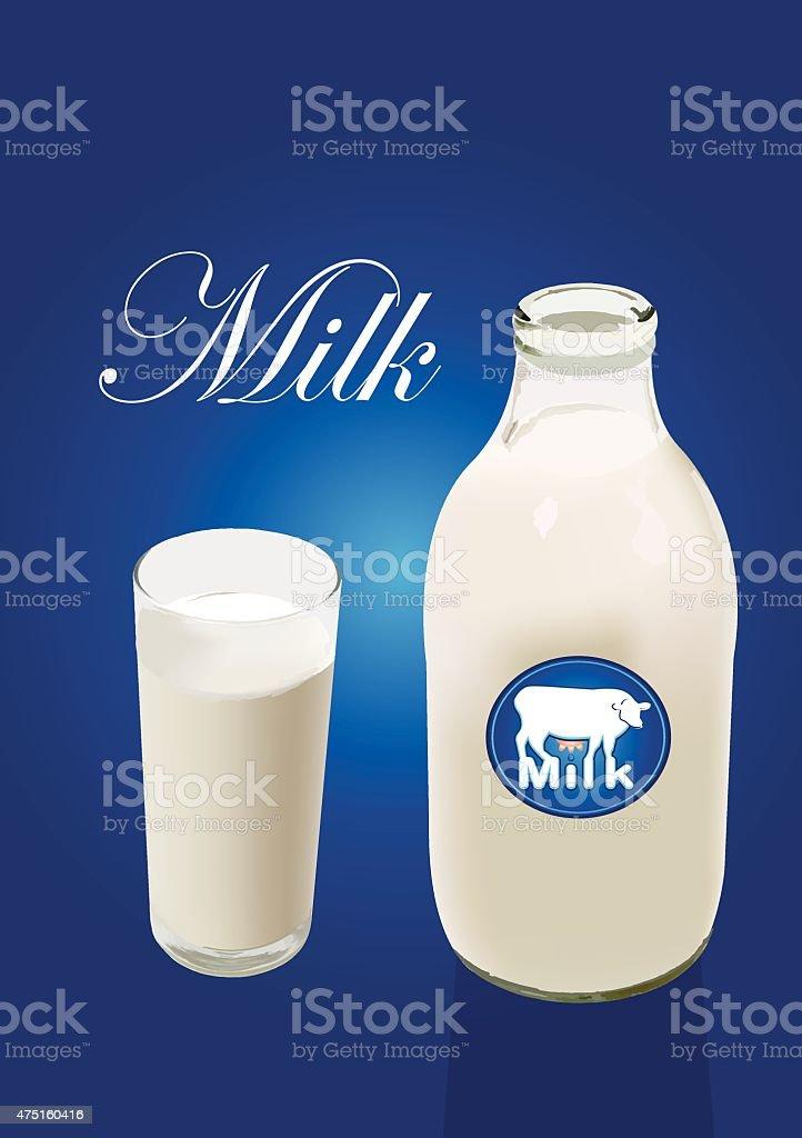 vector milk bottle with glass vector art illustration
