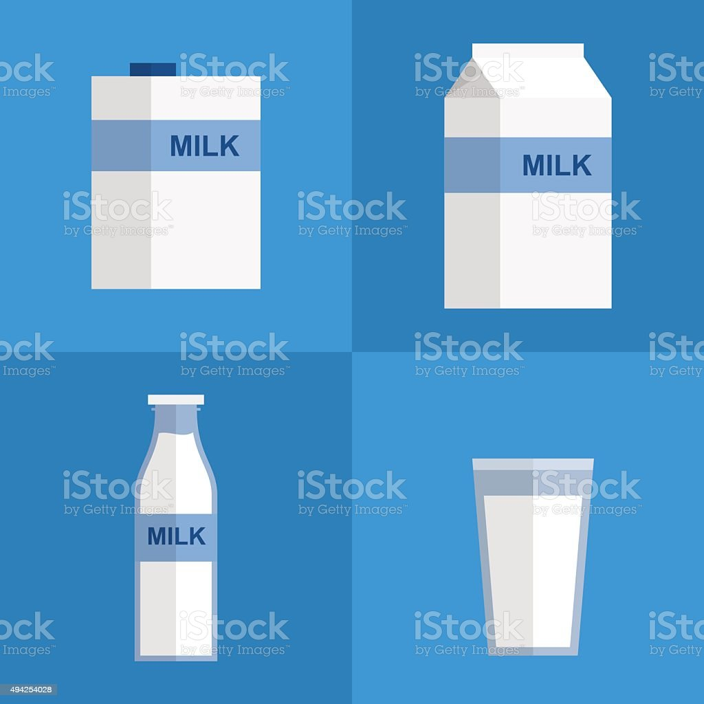 vector milk icon package types. flat style vector art illustration