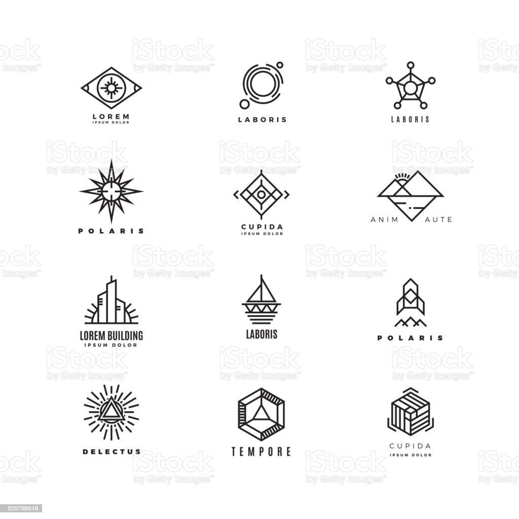 Vector minimal geometric vintage labels set vector art illustration