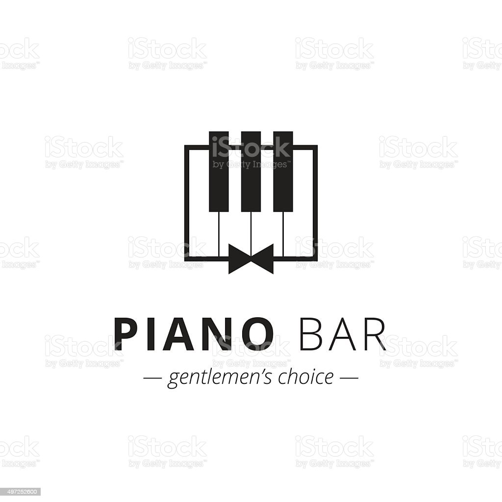 Vector minimalistic piano vector art illustration